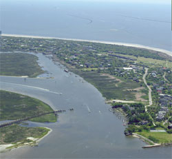Aerial view of Sullivan's Island and the Intracoastal waterway.